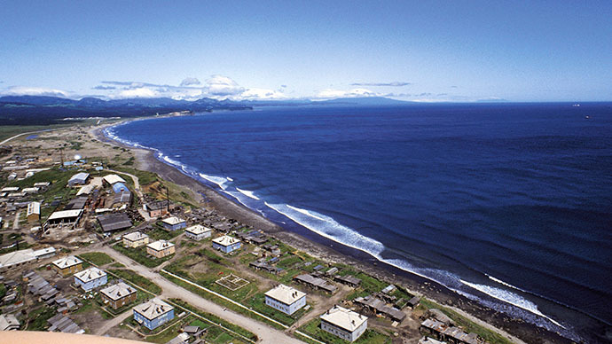 A view of Yuzhno-Kurilsk, Kunashir Island in the Sea of Okhotsk. (RIA Novosti / Alexander Liskin)