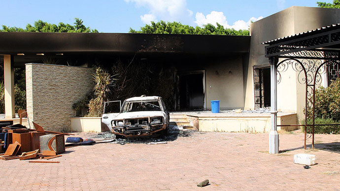 A burnt house and a car are seen inside the US Embassy compound on September 12, 2012 in Benghazi, Libya following an overnight attack on the building.( AFP Photo / Stringer )