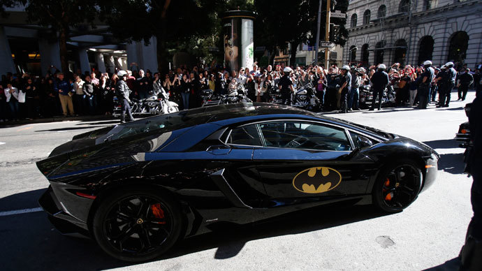 "The Batmobile carrying five-year-old leukemia survivor Miles Scott, aka ""Batkid"" is seen as part of a day arranged by the Make- A - Wish Foundation in San Francisco, California November 15, 2013. (Reuters / Stephen Lam )"