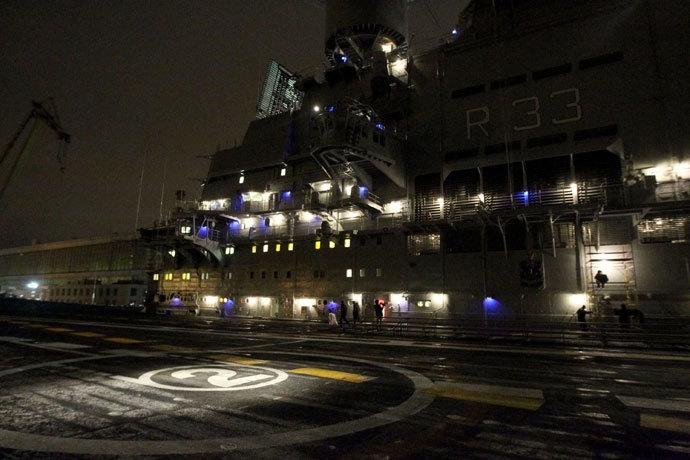 INS Vikramaditya at a Russian shipbuilding yard in Severodvinsk.(RIA Novosti / Sergey Mamontov)