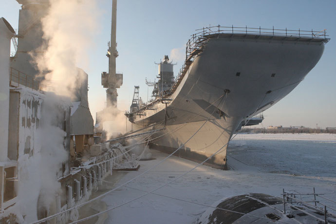 "The aircraft carrier ""Vikramaditya"" of the Indian Navy (former Northern Fleet aircraft carrier ""Admiral Gorshkov""), which was repaired and re-equipped at the OAO ""PO Sevmash"".(RIA Novosti / Sergey Mamontov)"