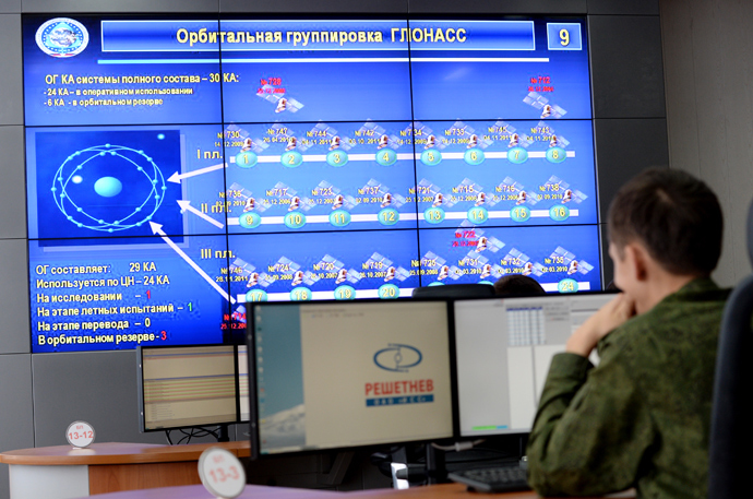 At the command post for GLONASS management in the Titov Main Space Testing Center (RIA Novosti / Sergey Pyatakov)