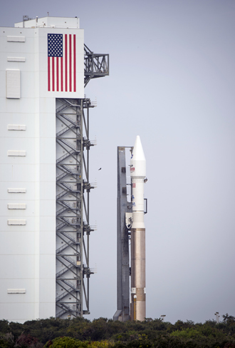 In this image released by NASA, the United Launch Alliance Atlas V rocket and NASA's Mars Atmosphere and Volatile Evolution (MAVEN) spacecraft rolls out of the Cape Canaveral Air Force Station Space Launch Complex to the launch pad, on November 16, 2013, Cape Canaveral, Florida (AFP Photo)