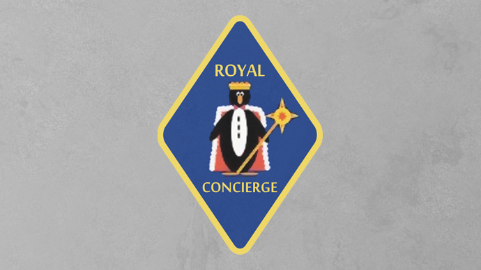 The 'Royal Concierge' secret program logo showing a penguin wearing a crown. The black and white penguin might be mocking luxury hotels' staff uniform.