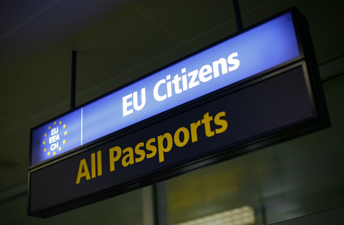 A picture shows a Malta immigration sign at Malta International Airport (AFP Photo / Ben Borg Cardona)