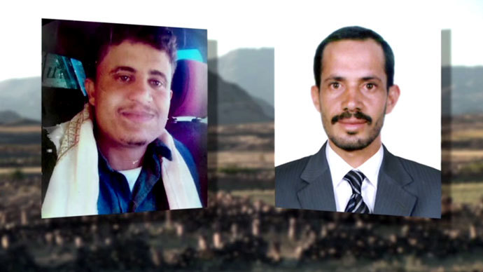 Ali Nasser, a father of three, (L) and his 20-year-old cousin Salim (R) were killed by a US drone on January 23, 2013. Screenshot from RT video