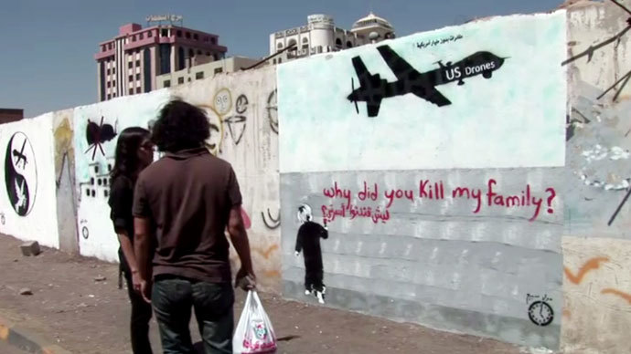 Graffiti on one of the walls in the capital of Yemen, Sanaa. Screenshot from RT video