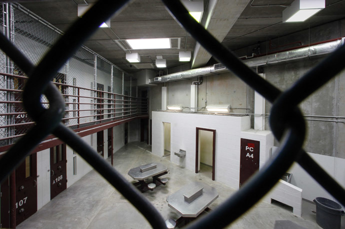 The interior of an unoccupied communal cellblock is seen at Camp VI, a prison used to house detainees at the U.S. Naval Base at Guantanamo Bay (Reuters/Wolfgang Rattay)