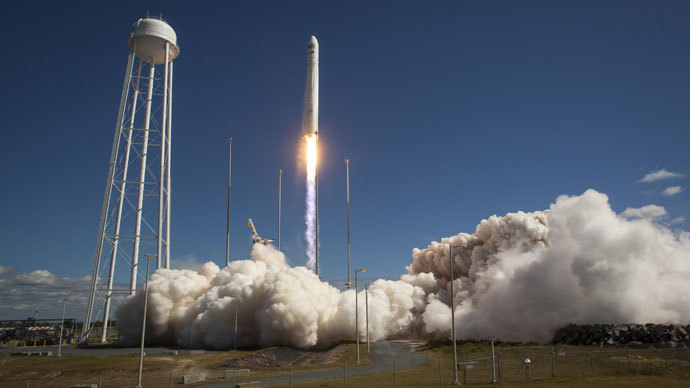 This photo courtesy of NASA shows the Orbital Sciences Corporation Antares rocket, with the Cygnus cargo spacecraft aboard, as it launches from Pad-0A of the Mid-Atlantic Regional Spaceport (MARS), September 18, 2013.(AFP Photo / NASA)