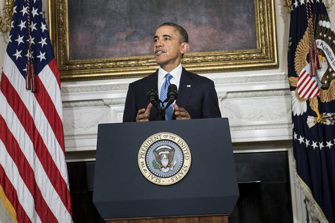 US President Barack Obama makes a statement from the State Dining Room of the White House November 23, 2013 in Washington after an agreement to freeze Iran's nuclear program was reached in Geneva. (AFP Photo / Brendan Smialowski)