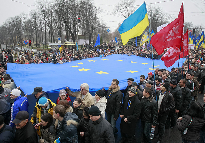 Protestors carry an EU flag as they take part in a rally to support EU integration in central Kiev November 24, 2013. (Reuters / Gleb Garanich)