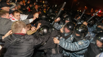 Pro-EU protesters clash with police in Ukrainian capital