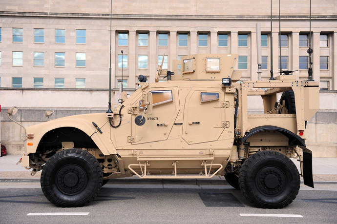 A new Mine Resistant Ambush Protected (MRAP) vehicle called the M-ATV is on display outside the Pentagon (AFP Photo/Tim Sloan)