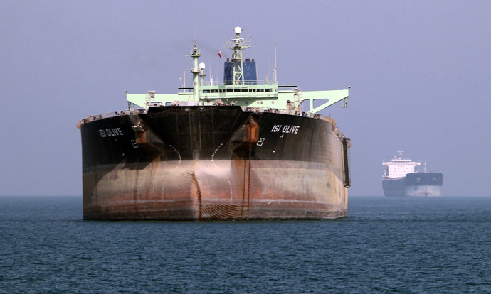 An oil tanker is seen off the port of Bandar Abbas, southern Iran (AFP Photo)