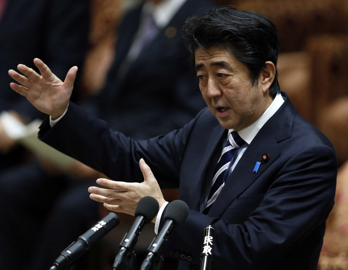 Japan's Prime Minister Shinzo Abe speaks during a lower house special committee on a state secrets act at the parliament in Tokyo November 26, 2013. (Reuters/Toru Hanai)