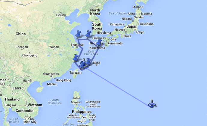 Presumed flight path of US B-52s, Nov. 26, 2013