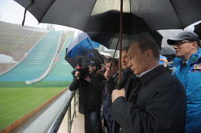President Vladimir Putin, front, inspects the RusSki Gorki Jumping Center in Sochi on November 27, 2013. (RIA Novosti / Aleksey Nikolskyi)