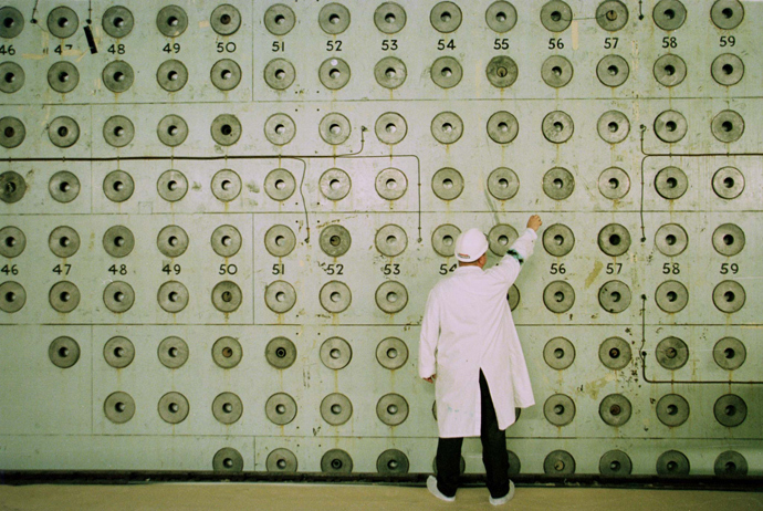 Nuclear worker stands at the Charge face of Windscale Pile One at Sellafield nuclear power plant, Cumbria (Reuters)