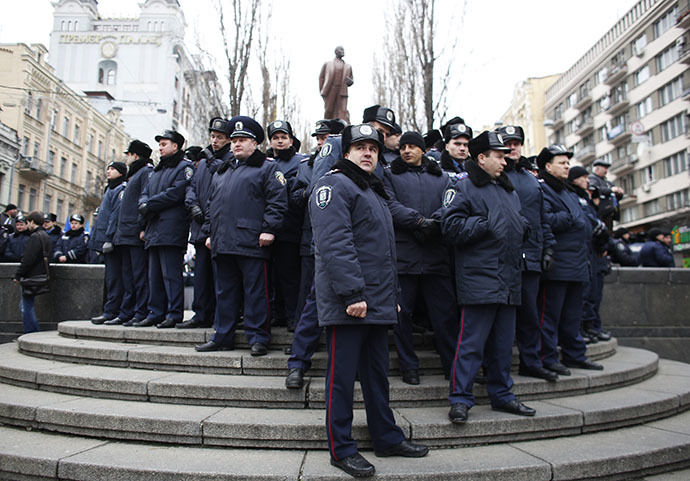 Interior Ministry officers gather during a rally held by supporters of EU integration in Kiev, December 1, 2013. (Reuters / Stoyan Nenov)