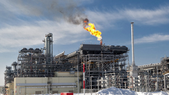 The flare system at Russia's first liquefied natural gas (LNG) plant (the Sakhalin II project), built by Sakhalin Energy Investment Company Ltd. (RIA Novosti/Sergey Krasnouhov)