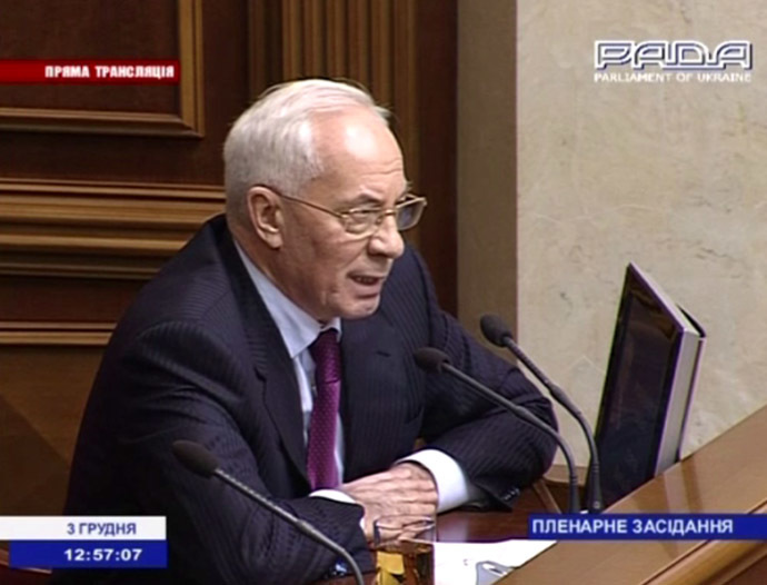 Ukraine's Prime Minister, Nikolay Azarov (Still from AP video)