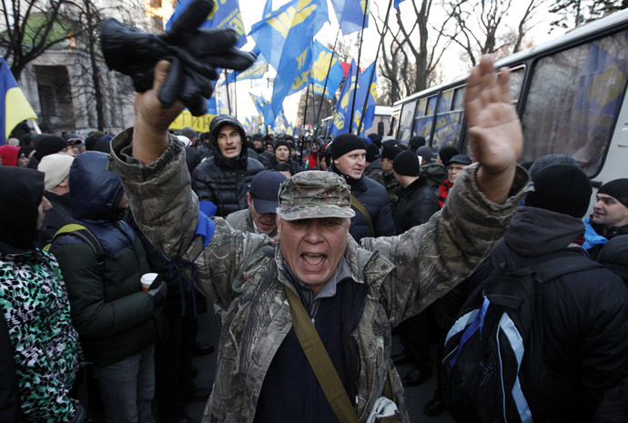 A protestor shouts during a demonstration in support of EU integration in Kiev December 3, 2013. (Reuters/Vasily Fedosenko)
