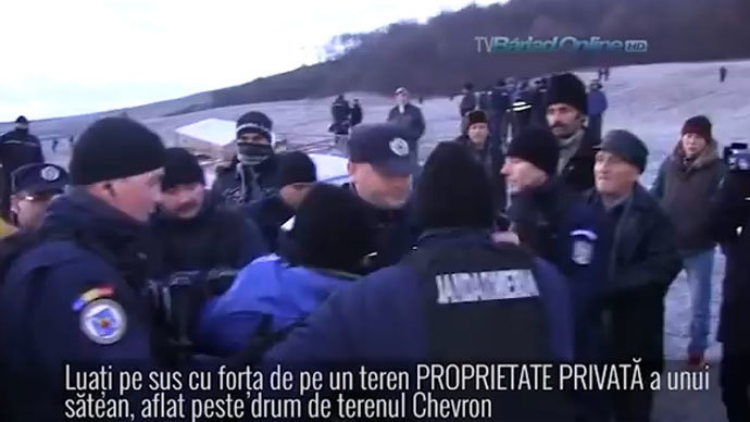 Romanian police 'brutally' remove protesters opposed to Chevron fracking