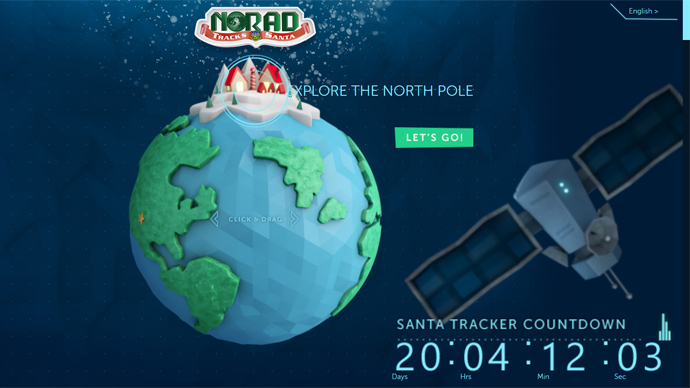 Screenshot from noradsanta.org