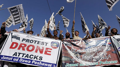 'Not bug splats': Artists use poster-child in Pakistan drone protest