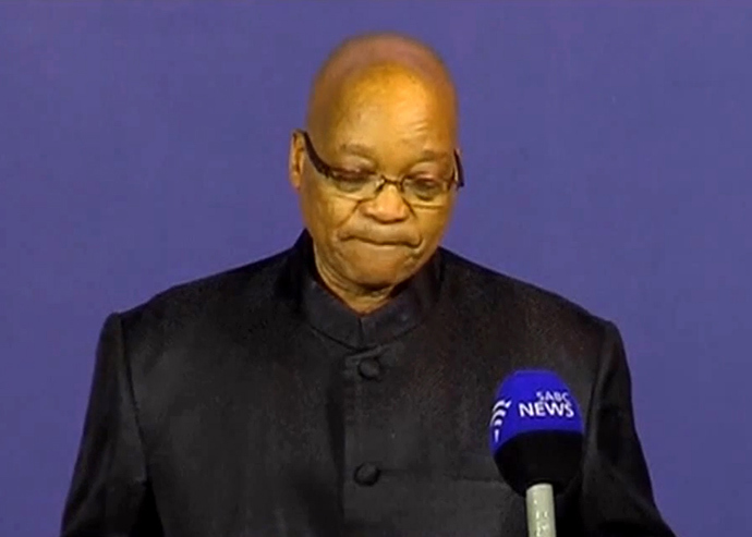 An image grab shows South African President Jacob Zuma holding a press briefing to announce the death of former president and anti-apartheid icon Nelson Mandela in Johannesburg on December 5, 2013. (AFP Photo / SABC)