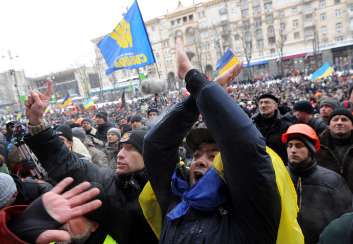 Protesters rally in central Kiev, on December 11, 2013. (AFP Photo/Viktor Drachev)