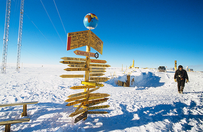 Traffic signs at the Vostok Antarctic research station in the vicinity of the South Geomagnetic Pole (RIA Novosti / V. Chistiakov)