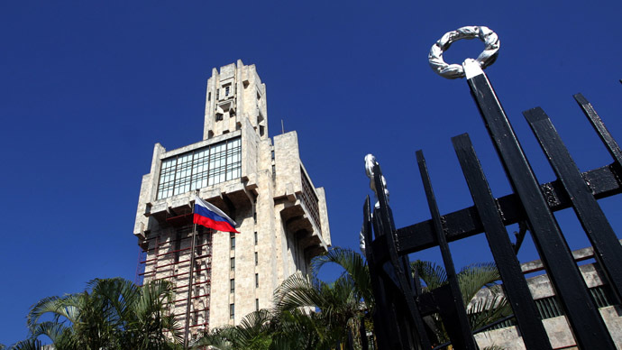 The Russian flag waves outside the Russian Embassy in Havana (Reuters/Claudia Daut)