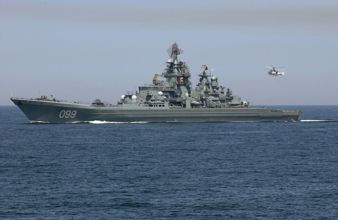 "The surface-to-surface missile cruiser ""Pyotr Veliky"" (RIA Novosti / Sergey Guneev)"