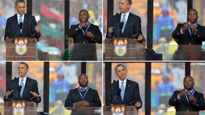Hunt for mysterious interpreter who faked sign language at Mandela memorial