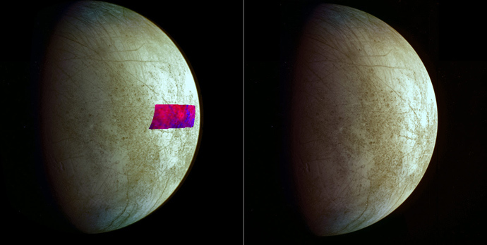 This image, using data from NASA's Galileo mission, shows the first detection of clay-like minerals on the surface of Jupiter's moon Europa. The clay-like minerals appear in blue in the false-color patch of data from Galileo's Near-Infrared Mapping Spectrometer (Image by NASA/JPL-Caltech/SETI)