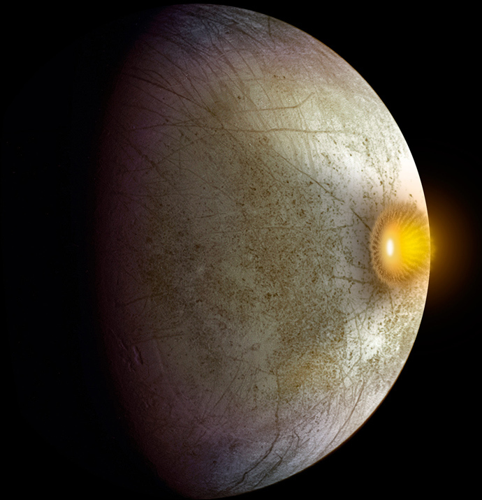 This artist's concept shows a possible explosion resulting from a high-speed collision between a space rock and Jupiter's moon Europa. Clay-type minerals have been found on Europa's surface in a new analysis of data from NASA's Galileo mission (Image by NASA/JPL-Caltech)