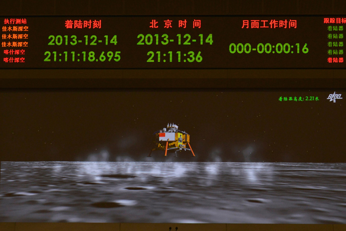 A photograph taken on a giant screen at the Beijing Aerospace Control Center in Beijing shows an animated image of the Chang'e-3 lunar probe landing onto the surface of the moon, December 14, 2013. (Reuters / Stringer)