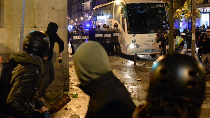 Clashes in Madrid as protest over govt spending spreads to 46 cities
