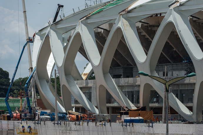 View of the Arena Amazonia stadium under construction in Manaus. (AFP Photo / Yasuyoshi Chiba)