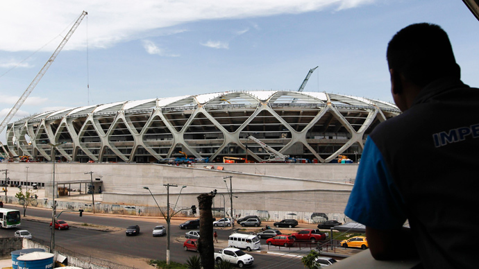 Brazilian World Cup builders call for national strike as construction death toll rises