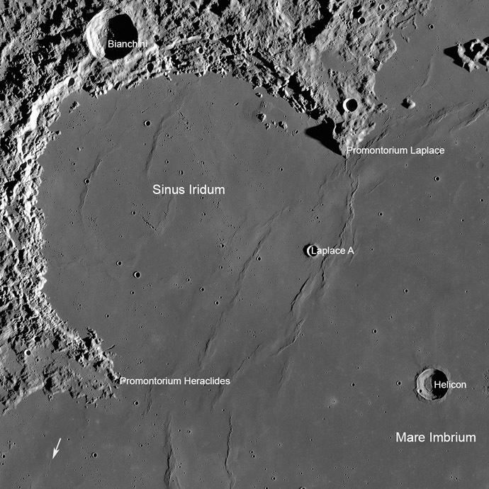 Sinus Iridum, also called 'Bay of Rainbows' area of the Moon (Image from wikipedia.org)