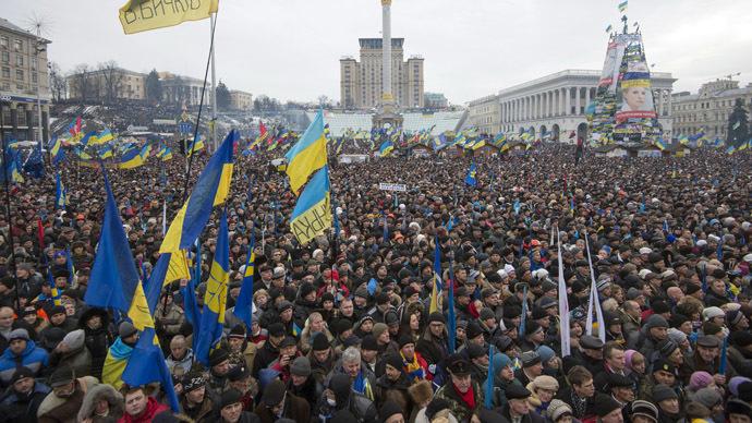Supporters of pro-EU integration at the Dignity Day rally on Maidan Nezalezhnosti in Kiev, Ukraine. (RIA Novosti/Iliya Pitalev)