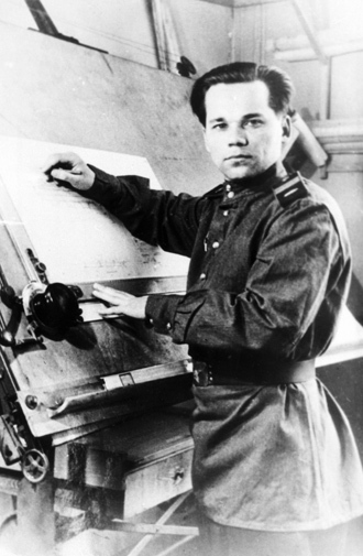 Senior Sergeant Mikhail Kalashnikov as he designed his AK-47 assault rifle. (RIA Novosti)