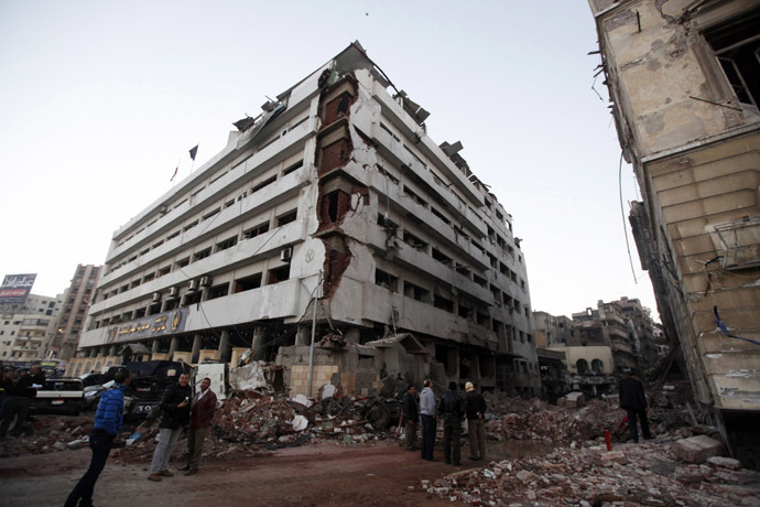 The building of the Directorate of Security is pictured after an explosion in Egypt's Nile Delta town of Dakahlyia, about 120 km (75 miles) northeast of Cairo December 24, 2013. (Reuters/Mohamed Abd El Ghany)