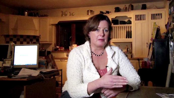 Julia Godsill, a Dubliner in mortgage arrears. Screenshot from RT video