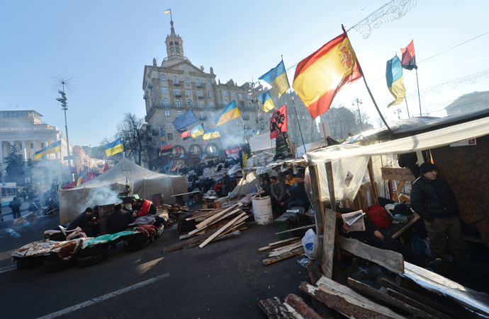 A view of the pro-Eu opposition protest camp at Independence Square in Kiev, on December 24, 2013 (AFP Photo / Sergey Supinsky)