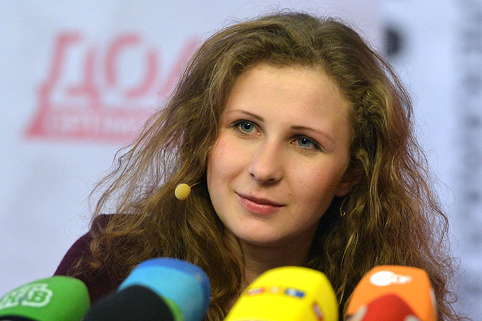 Member of the punk band Pussy Riot Maria Alyuokhina, released from jail early under an amnesty, at a news conference at the Dozhd TV channel. (RIA Novosti / Alexey Kudenko)