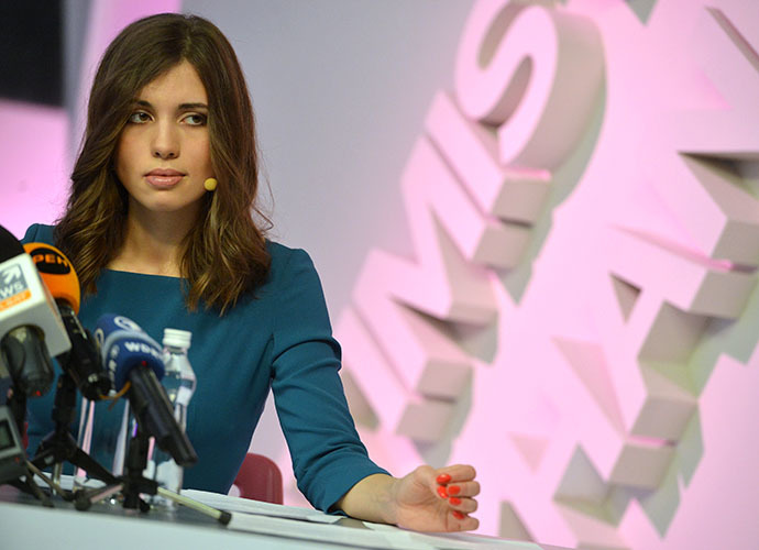Member of the punk band Pussy Riot Nadezhda Tolokonnikova, released from jail early under an amnesty, at a news conference at the Dozhd TV channel. (RIA Novosti / Alexey Kudenko)
