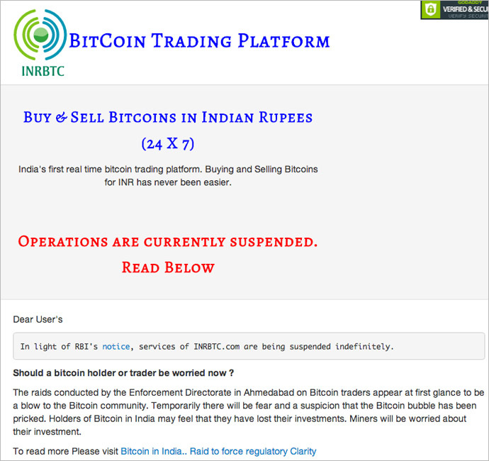 India's top bitcoin platform halts trade after state regulator 'security risks' warning bit